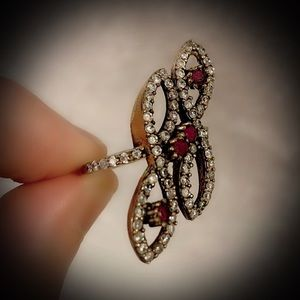 Vintage Jewelry - Infinity Cluster Ruby Solid Sterling Silver Ring